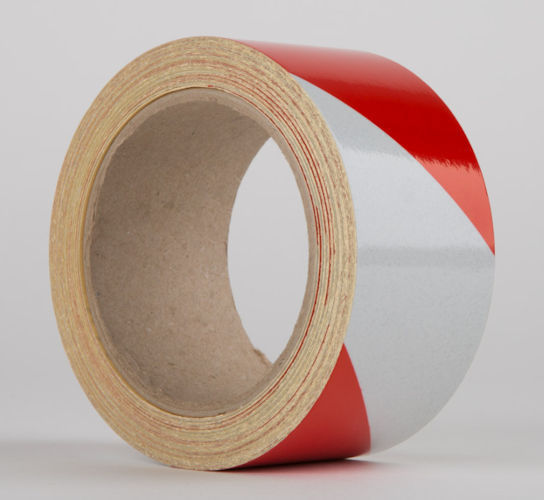 Le Mark - Reflective Hazard Warning Tape Rot/Weiss