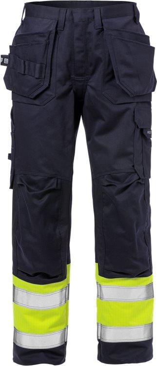 Fristads - Flame High Vis Handwerkerhose Kl. 1 2586 FLAM Warnschutz-Gelb/Marine D120