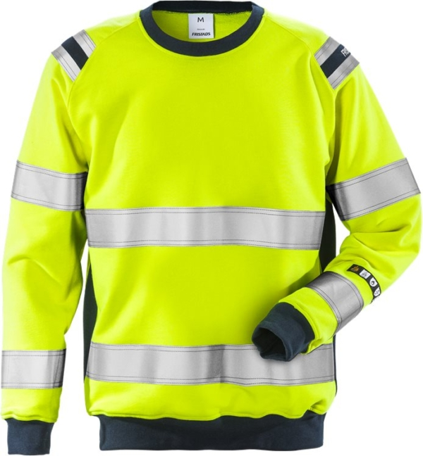 Fristads - Flamestat High Vis Sweatshirt Kl. 3 7076 SFLH Warnschutz-Gelb/Marine 3XL