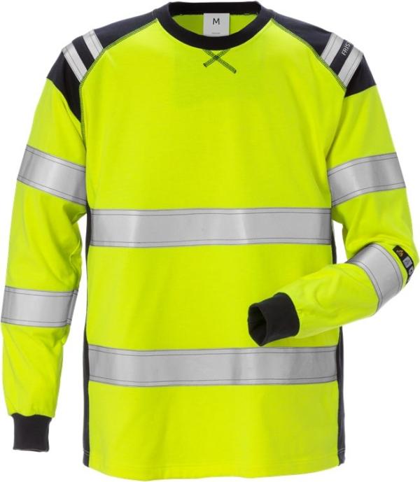 Fristads - Flamestat High Vis T-Shirt Langarm Kl. 3 7077 TFLH Warnschutz-Gelb/Marine 3XL