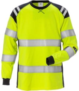 Fristads - Flamestat T-Shirt, Langarm, Damen Kl. 3 7097 TFLH Warnschutz-Gelb/Marine 3XL