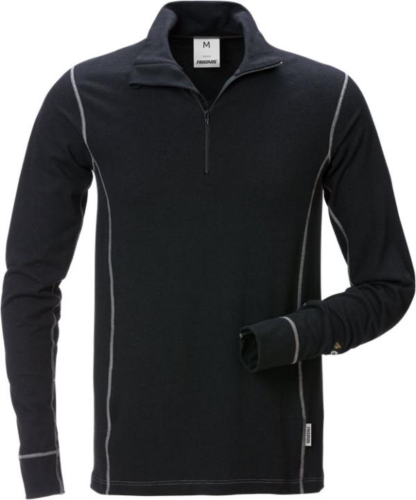 Fristads - Flamestat Zipper-T-Shirt Langarm 7029 MOF Schwarz 4XL