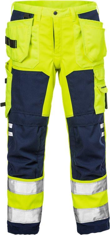 Fristads - High Vis Handwerker Softshell-Hose Kl. 2 2083 WYH Warnschutz-Gelb/Marine D120