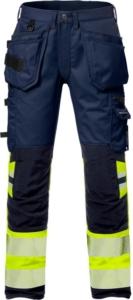 Fristads - High Vis Handwerker Stretch-Hose Kl. 1 2706 PLU Warnschutz-Gelb/Marine D120