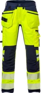 Fristads - High Vis Handwerker Stretch-Hose Kl. 2 2707 PLU Warnschutz-Gelb/Marine D120
