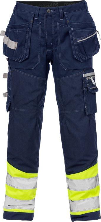 Fristads - High Vis Handwerkerhose Kl. 1 2127 CYD Warnschutz-Gelb/Marine D120