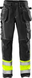 Fristads - High Vis Handwerkerhose Kl. 1 247 FAS Schwarz D120