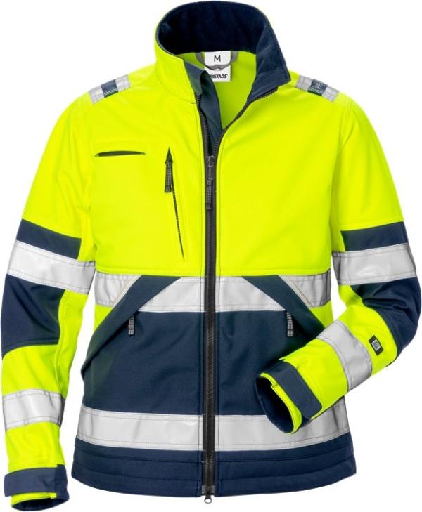 Fristads - High Vis Softshell-Jacke Damen Kl. 2 4183 WYH Warnschutz-Gelb/Marine 3XL
