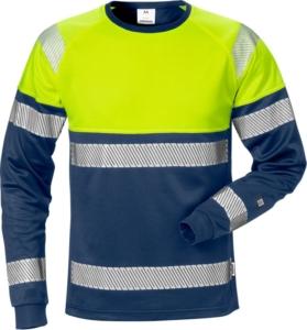 Fristads - High Vis T-Shirt Langarm Kl. 1 7519 THV Warnschutz-Gelb/Marine 4XL