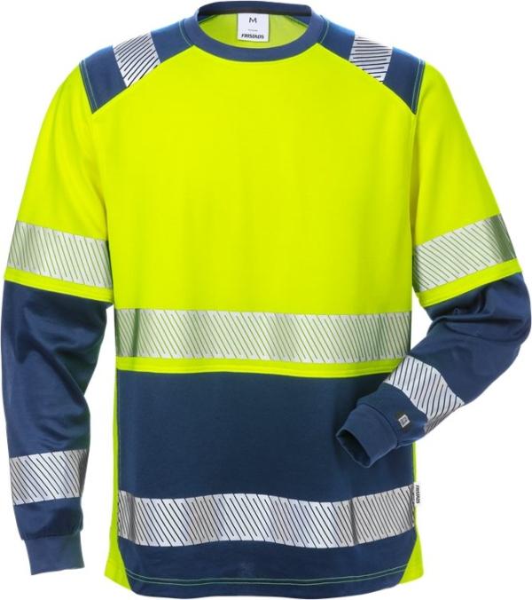 Fristads - High Vis T-Shirt Langarm, Kl. 2 7457 THV Warnschutz-Gelb/Marine 4XL