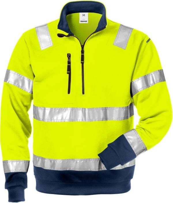 Fristads - High Vis Zipper-Sweatshirt Kl. 3 728 SHV Warnschutz-Gelb/Marine 4XL