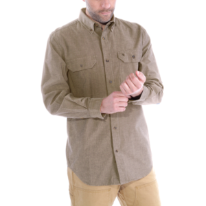 Carhartt - L/S FORT SOLID SHIRT XXL DARK TAN CHAMBRAY