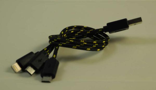 Urban Fire - USB Lade Kabel (1 x Apple Lightning / 2 x Micro USB)
