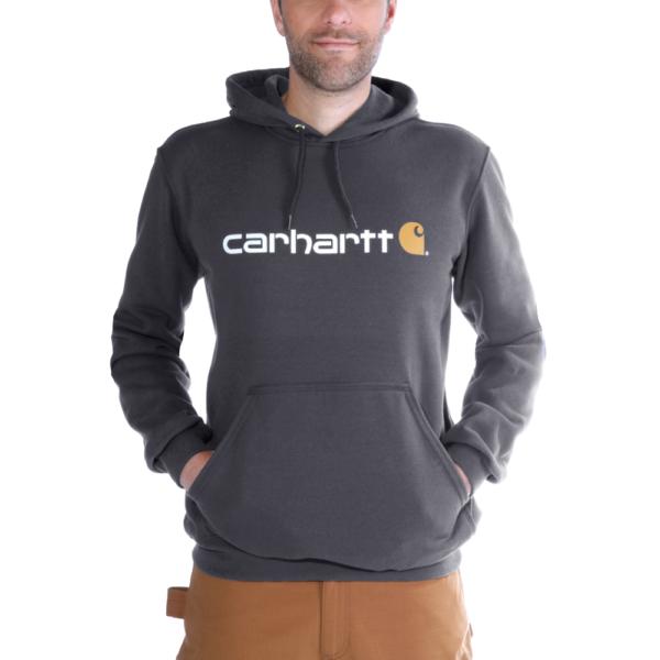 Carhartt - SIGNATURE LOGO HOODED SWEATSHIRT XS CARBON HEATHER