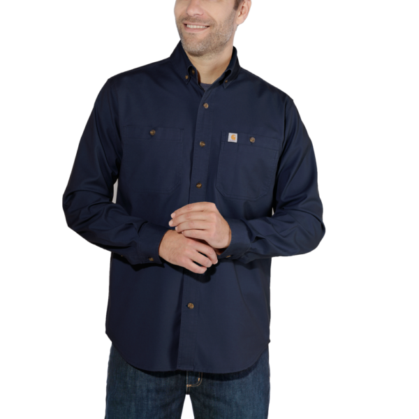 Carhartt - LW RIGBY SOLID L/S SHIRT S NAVY