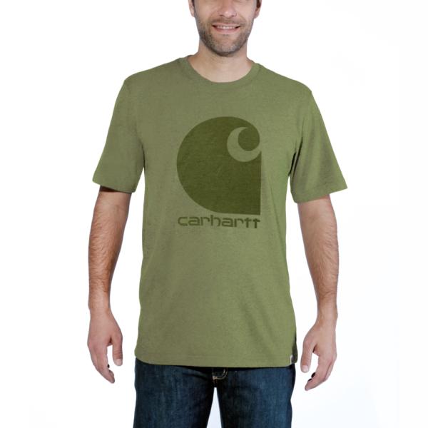 Carhartt - WORKWEAR C-LOGO GRAPHIC S/S T-SHIRT M OIL GREEN HEATHER