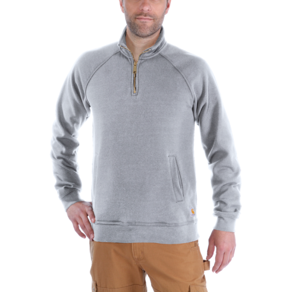 Carhartt - QUARTER-ZIP MOCK-NECK SWEATSHIRT S HEATHER GREY