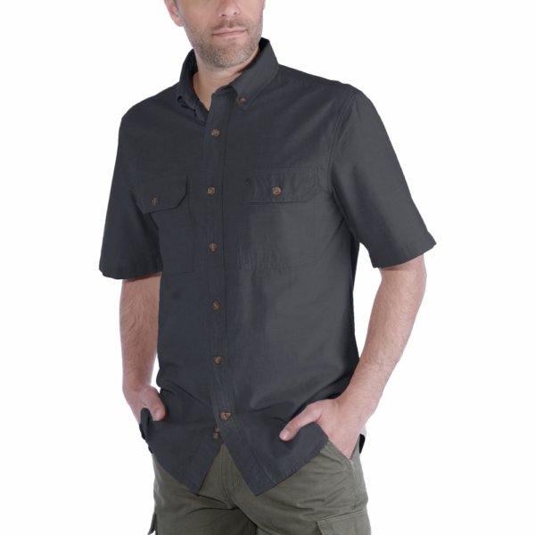 Carhartt - S/S FORT SOLID SHIRT S BLACK CHAMBRAY