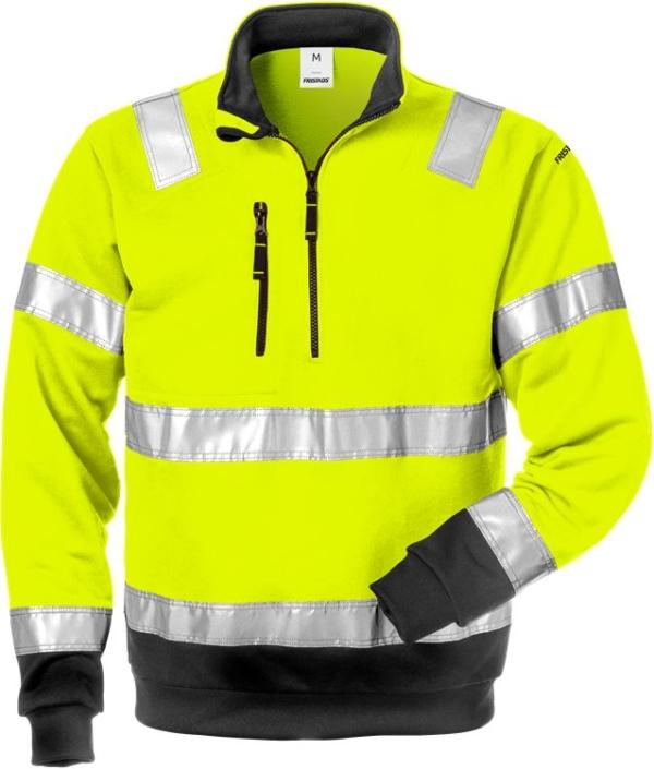 Fristads - High Vis Zipper-Sweatshirt Kl. 3 728 SHV Warnschutz-Gelb/Schwarz XS
