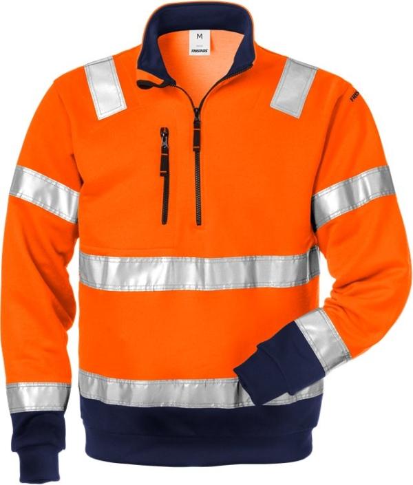 Fristads - High Vis Zipper-Sweatshirt Kl. 3 728 SHV Warnschutz-Orange/Marine XS