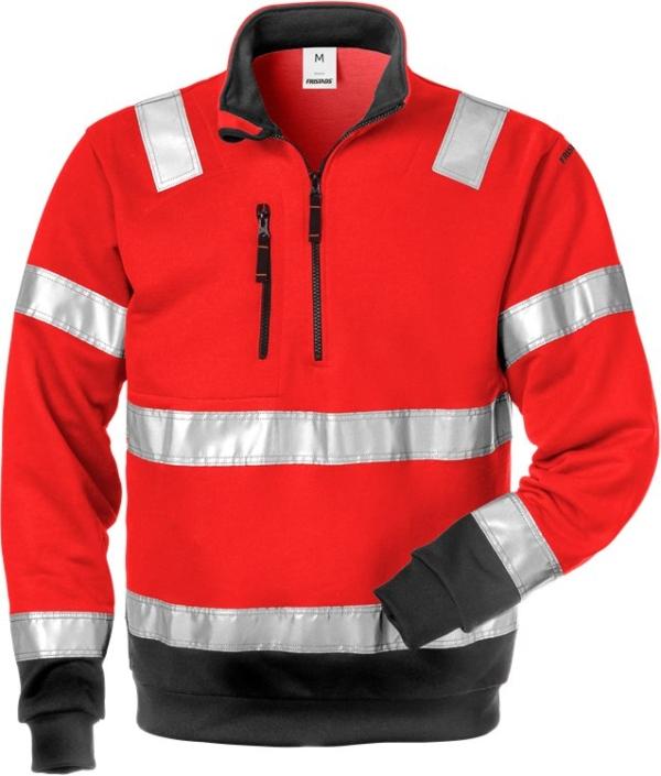 Fristads - High Vis Zipper-Sweatshirt Kl. 3 728 SHV Warnschutz-Rot/Schwarz XS