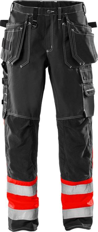 Fristads - High Vis Handwerkerhose Kl. 1 247 FAS Warnschutz-Rot/Schwarz C44