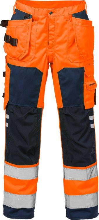Fristads - High Vis Handwerkerhose Kl. 2 2025 PLU Warnschutz-Orange/Marine C44