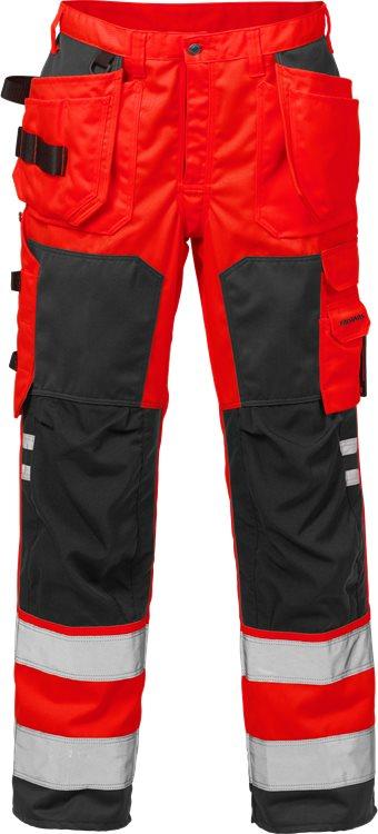 Fristads - High Vis Handwerkerhose Kl. 2 2025 PLU Warnschutz-Rot/Schwarz C44