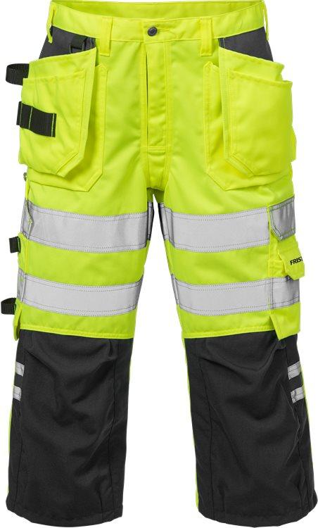 Fristads - High Vis 3/4 Handwerkerhose Kl. 2 2027 PLU Warnschutz-Gelb/Schwarz C44