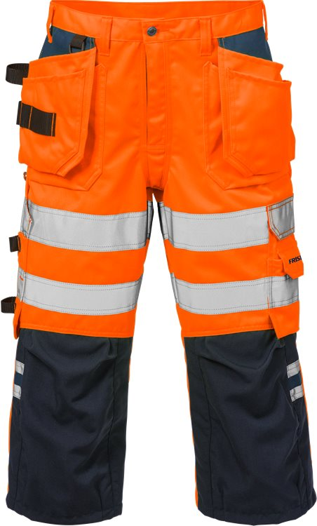 Fristads - High Vis 3/4 Handwerkerhose Kl. 2 2027 PLU Warnschutz-Orange/Marine C44