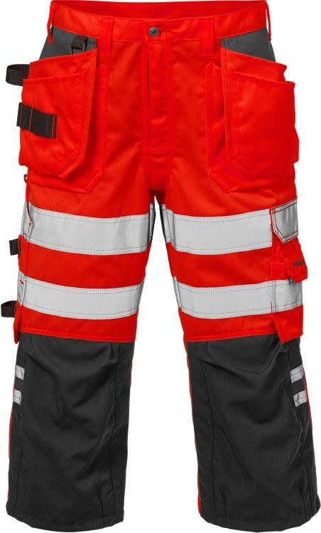 Fristads - High Vis 3/4 Handwerkerhose Kl. 2 2027 PLU Warnschutz-Rot/Schwarz C44