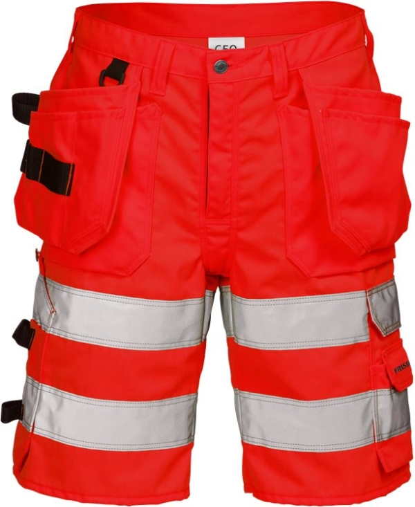 Fristads - High Vis Handwerkershorts Kl. 2 2028 PLU Warnschutz-Rot C44