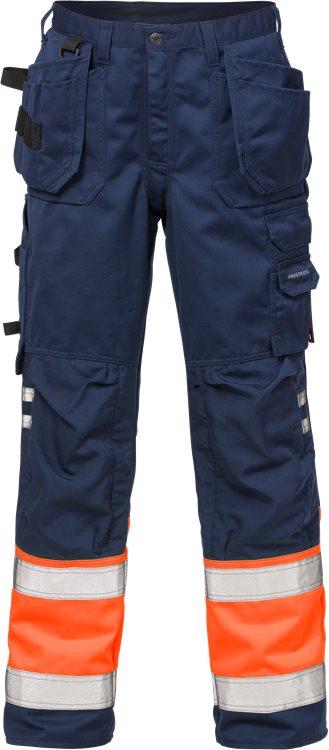 Fristads - High Vis Handwerkerhose Kl. 1 2029 PLU Warnschutz-Orange/Marine C44