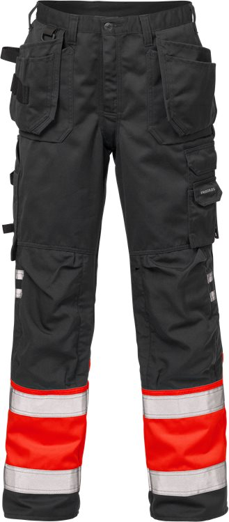Fristads - High Vis Handwerkerhose Kl. 1 2029 PLU Warnschutz-Rot/Schwarz C44