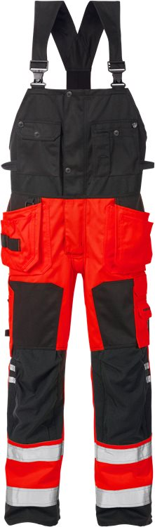 Fristads - High Vis Handwerkerlatzhose Kl. 2 1014 PLU Warnschutz-Rot/Schwarz C44
