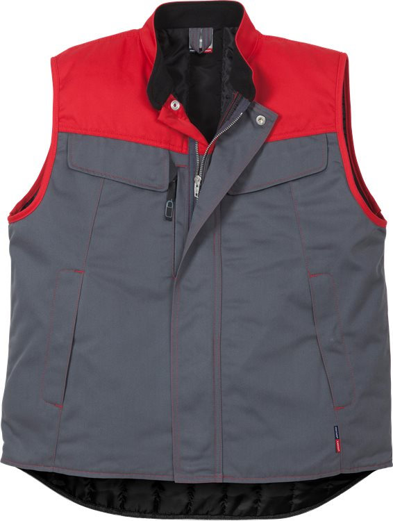 Fristads - Icon Two Weste 5312 LUXE Grau/Rot XS