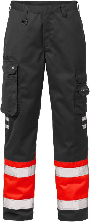 Fristads - High Vis Hose Kl. 1 213 PLU Warnschutz-Rot/Schwarz C44