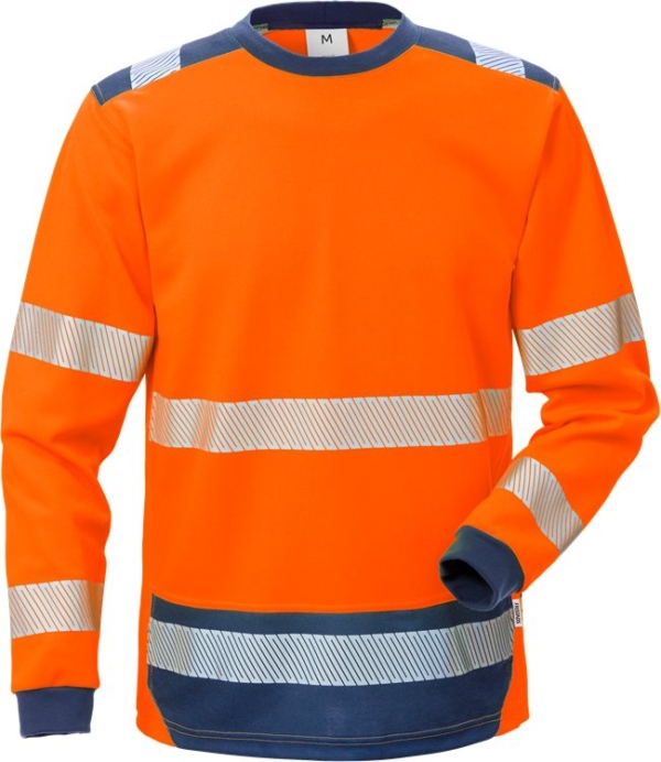 Fristads - High Vis T-Shirt Langarm KL. 3 7724 THV Warnschutz-Orange/Marine XS