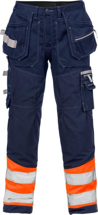 Fristads - High Vis Handwerkerhose Kl. 1 2127 CYD Warnschutz-Orange/Marine C44