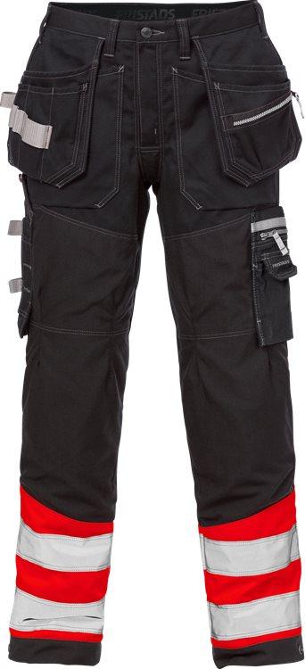 Fristads - High Vis Handwerkerhose Kl. 1 2127 CYD Warnschutz-Rot/Schwarz C44