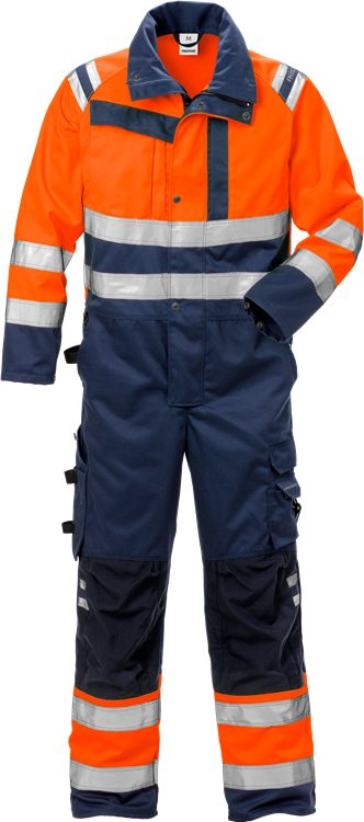Fristads - High Vis Overall Kl. 3 8026 PLU Warnschutz-Orange/Marine S