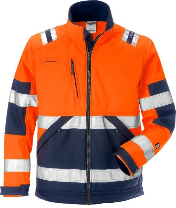 Fristads - High Vis Softshell-Jacke Kl. 2 4083 WYH Warnschutz-Orange/Marine XS