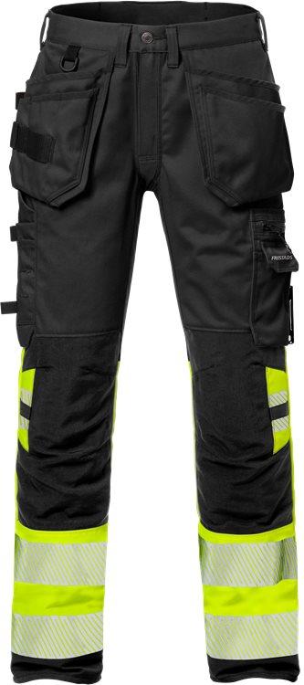 Fristads - High Vis Handwerker Stretch-Hose Kl. 1 2706 PLU Warnschutz-Gelb/Schwarz C44