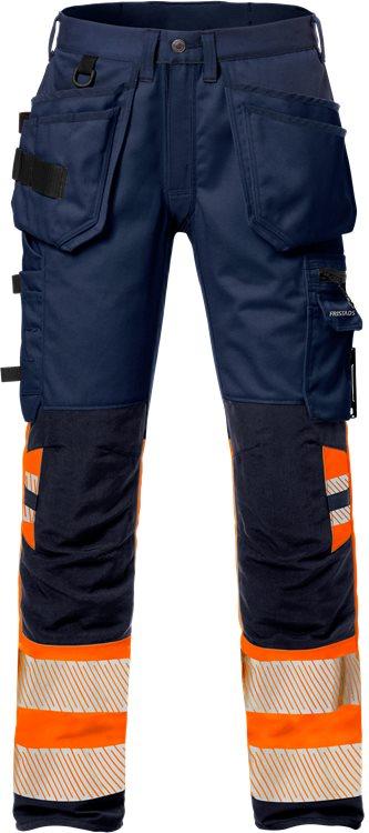 Fristads - High Vis Handwerker Stretch-Hose Kl. 1 2706 PLU Warnschutz-Orange/Marine C44