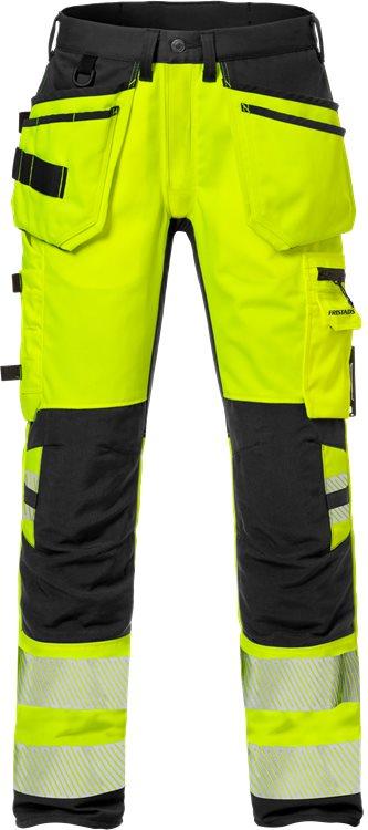 Fristads - High Vis Handwerker Stretch-Hose Kl. 2 2707 PLU Warnschutz-Gelb/Schwarz C44