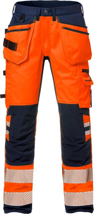 Fristads - High Vis Handwerker Stretch-Hose Kl. 2 2707 PLU Warnschutz-Orange/Marine C44