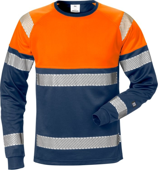 Fristads - High Vis T-Shirt Langarm Kl. 1 7519 THV Warnschutz-Orange/Marine XS