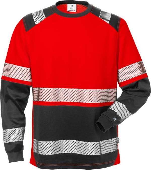 Fristads - High Vis T-Shirt Langarm, Kl. 2 7457 THV Warnschutz-Rot/Schwarz XS