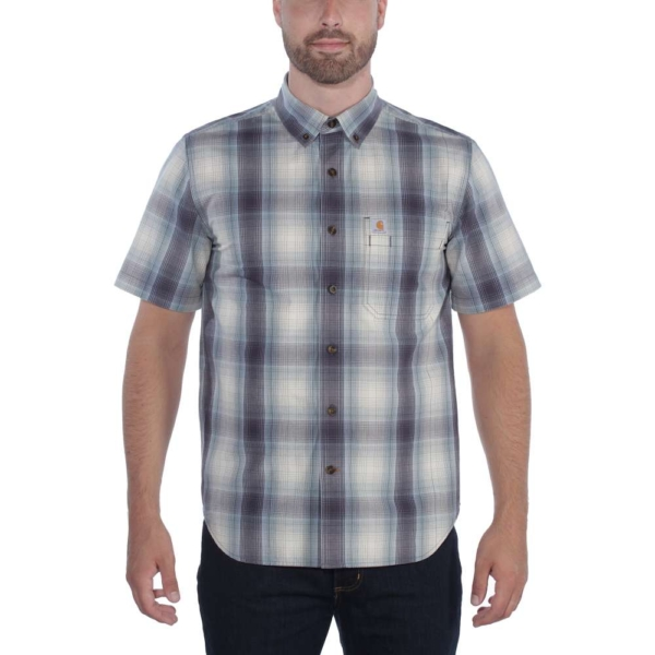 Carhartt - ESSENTIAL PLAID SHIRT S/S S BLUESTONE