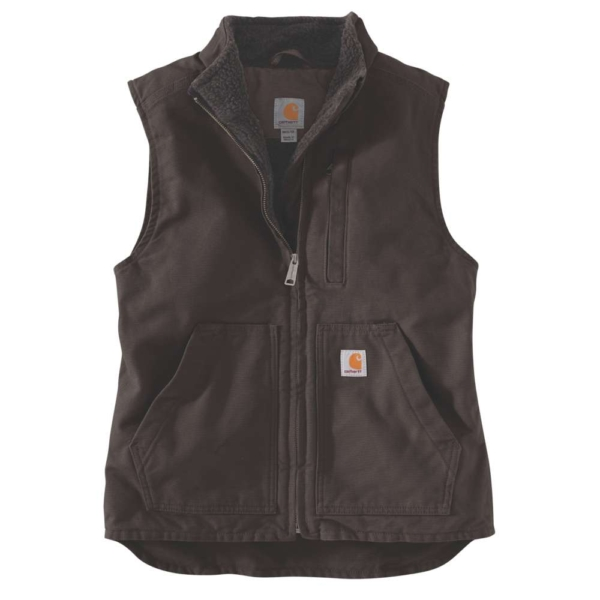 SHERPA LINED MOCK NECK VEST, XS, TAUPE GREY DARK BROWN XS